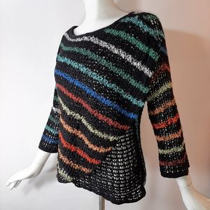 3/$18 Nic+Zoe Black Colorful Stripes Sweater Knit